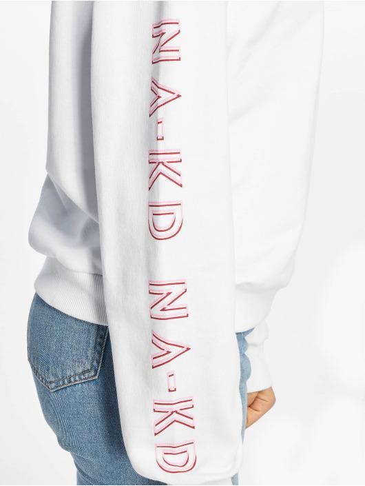 NA-KD Maglia Print Round Neck bianco