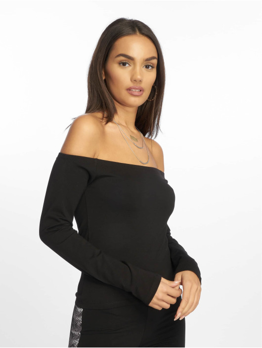 NA-KD Maglietta a manica lunga Cropped Off Shoulder nero