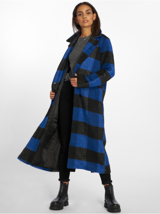 NA-KD Manteau Double Breasted Checked bleu