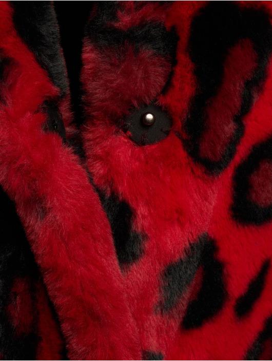 NA-KD Manteau hiver Faux Fur Leo rouge