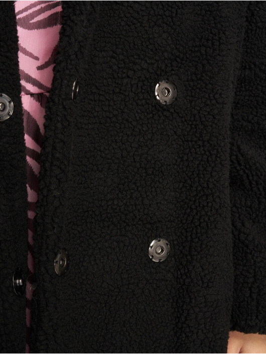 NA-KD Manteau Big Collar Teddy noir