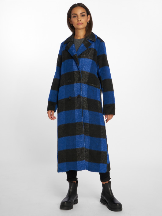NA-KD Parka Double Breasted Checked blauw