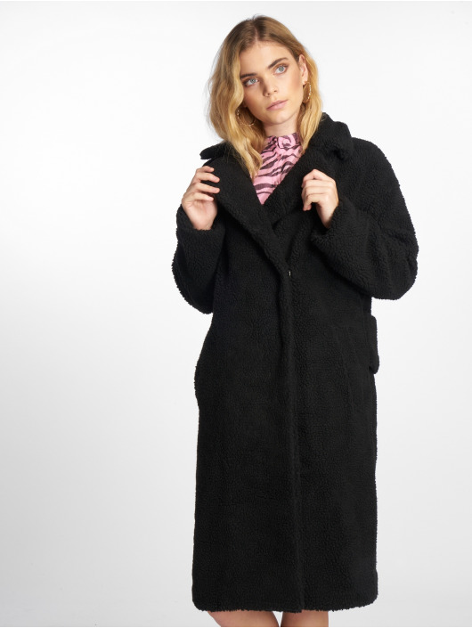 NA-KD Parka Big Collar Teddy zwart