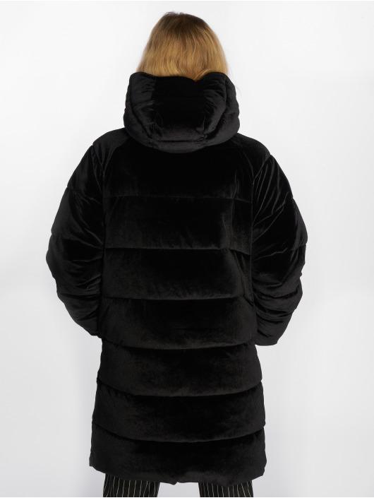 NA-KD Puffer Jacket Velvet Long schwarz