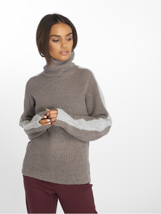 NA-KD Pullover Panel Knitted grau
