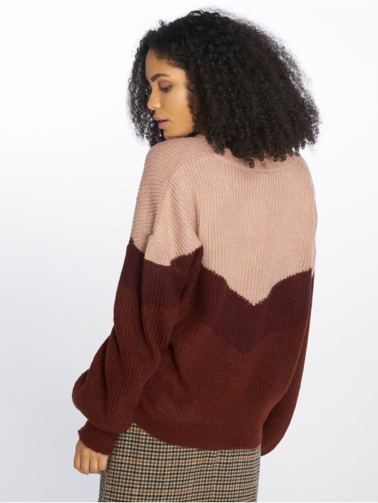 NA-KD Pullover Blocked V-Neck Knitted rot