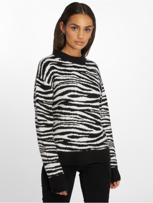 NA-KD Pullover Zebra Knitted schwarz