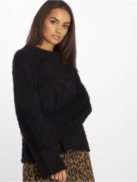 NA-KD Pullover Feather Wide Sleeve schwarz