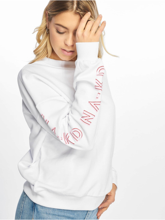 NA-KD Pullover Print Round Neck weiß