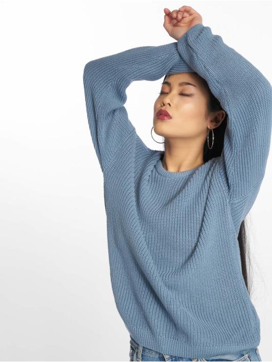 NA-KD Pulóvre Knitted Deep V-Neck modrá