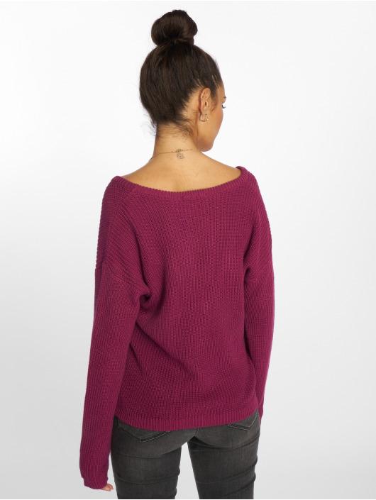 NA-KD Pulóvre Deep Front V-Neck Knitted pink