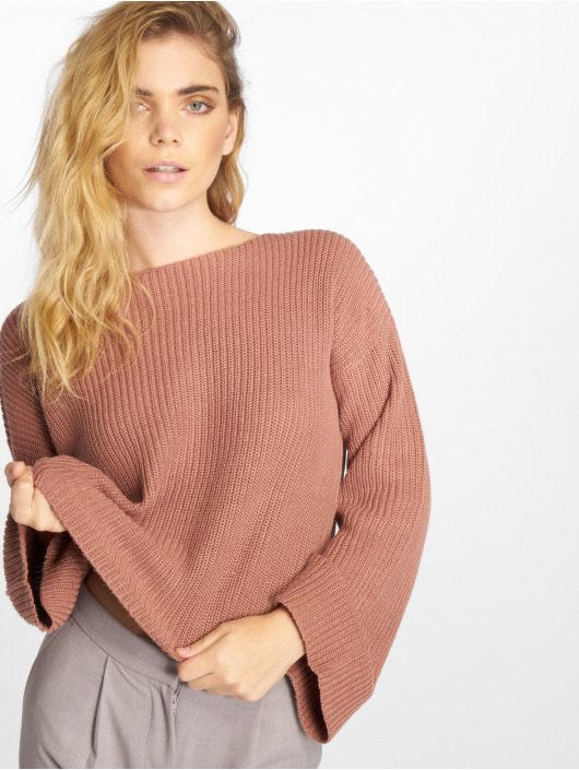 NA-KD Puserot Cropped Long Sleeve Knitted vaaleanpunainen