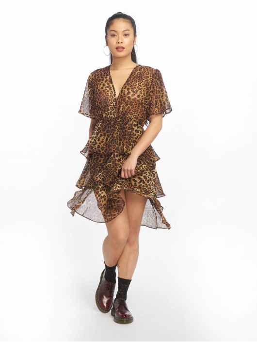 NA-KD Robe Flounce Triple Layer brun