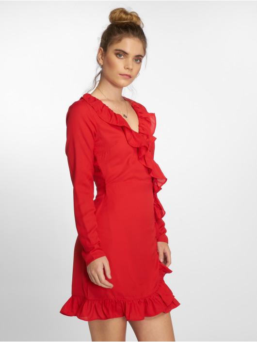 NA-KD Robe Long Sleeve Wrap Frill rouge