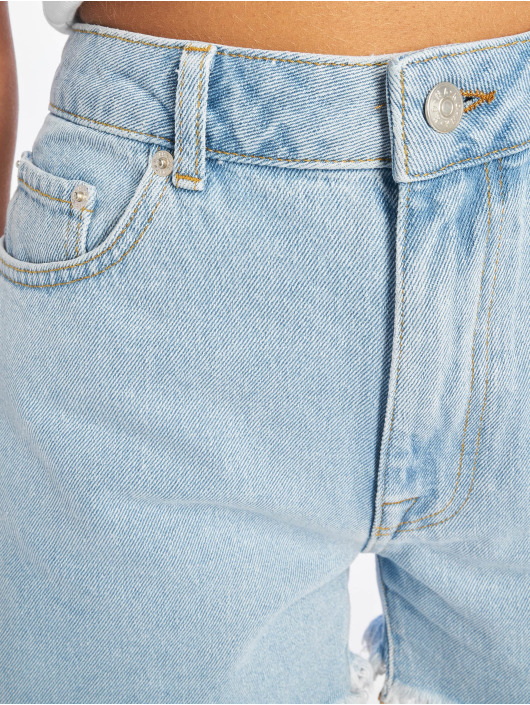 NA-KD Shorts Raw Hem High Waist Denim blå
