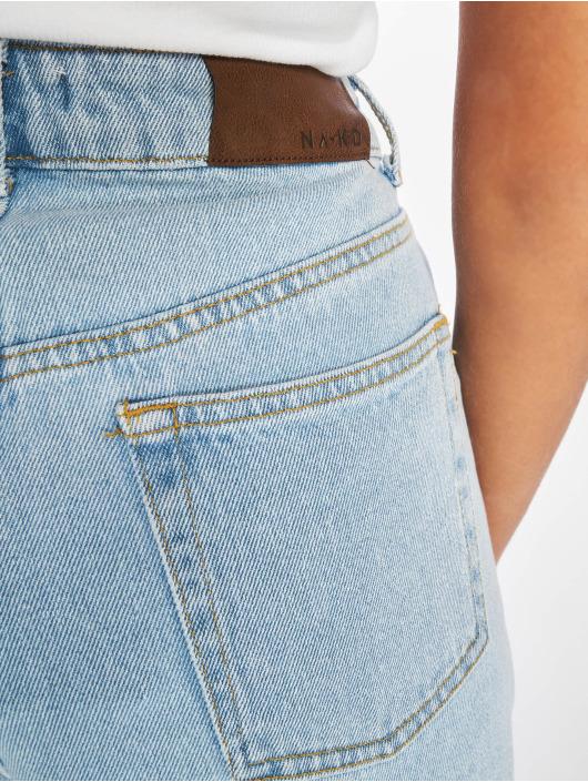 NA-KD Shorts Raw Hem High Waist Denim blau