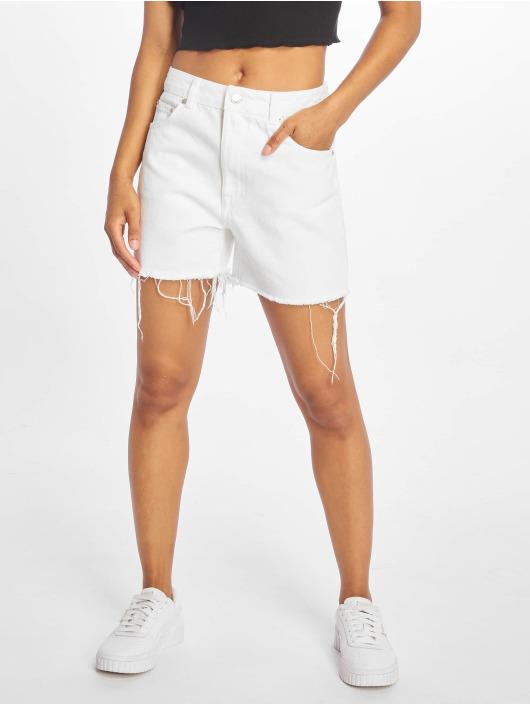 NA-KD Shorts Raw Hem High Waist Denim hvit