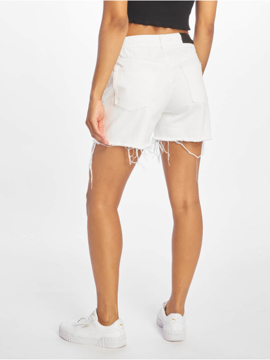 NA-KD Shorts Raw Hem High Waist Denim weiß