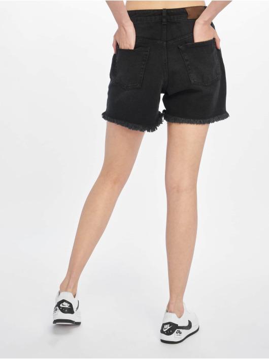 NA-KD shorts Raw Hem High Waist Denim zwart