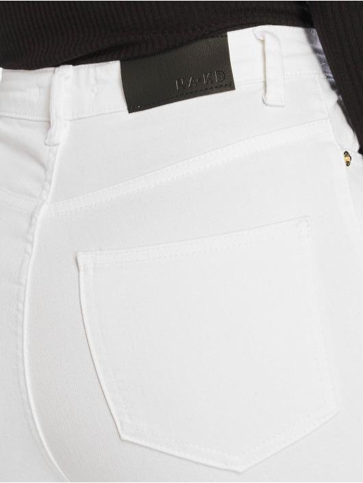 NA-KD Skinny Jeans High Rise Knee Rip bialy