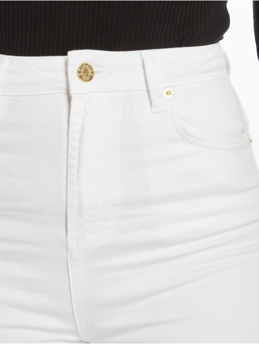 NA-KD Skinny Jeans High Rise Knee Rip white