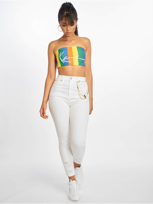 NA-KD Skinny Jeans Chewed Hem white
