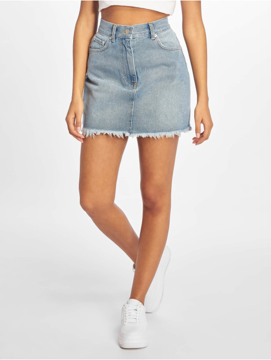 NA-KD Skirt Raw Hem High Waist Denim blue