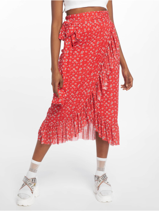 NA-KD Skirt Mesh Overlap red