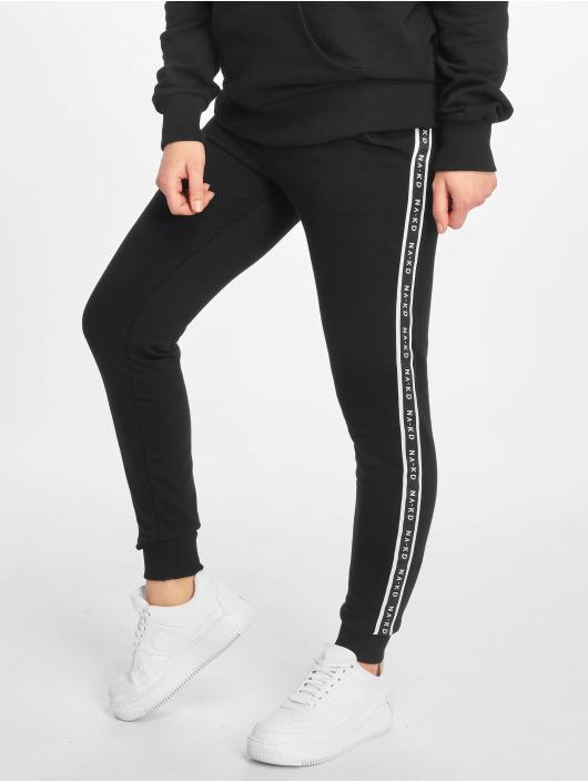 NA-KD Spodnie do joggingu Side Tape High Waist czarny