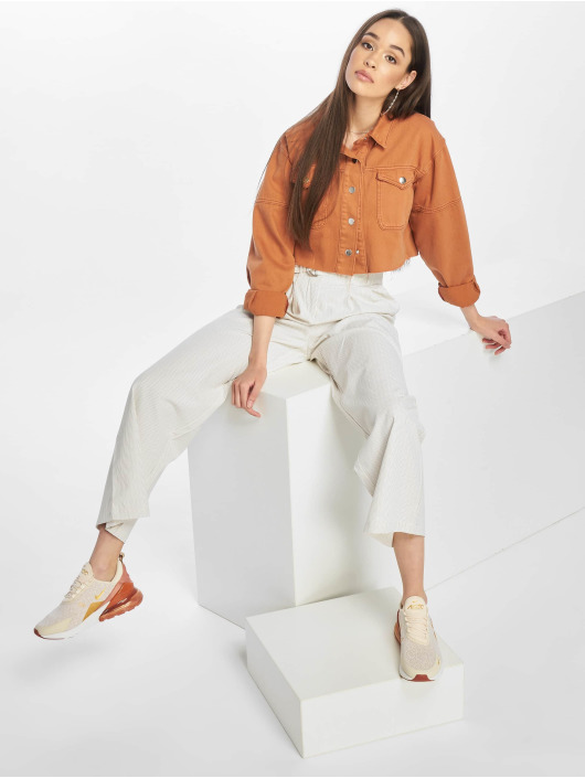NA-KD Spodnie wizytowe Paperwaist bialy