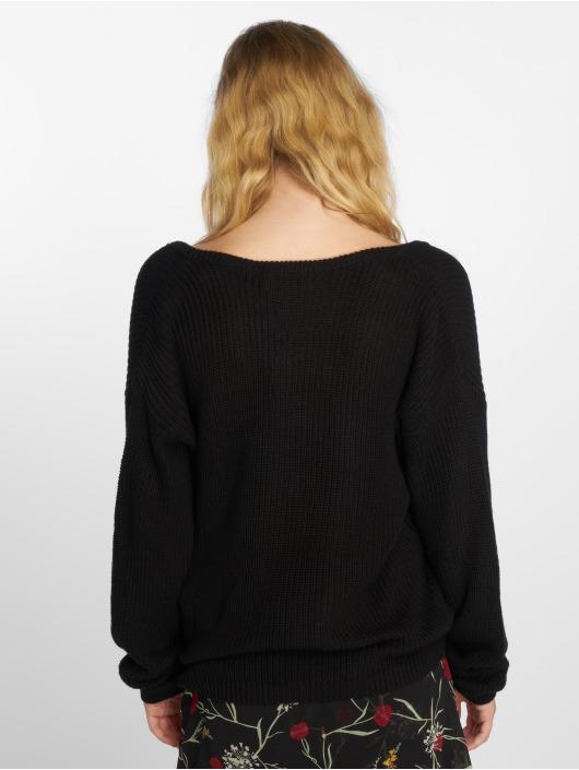 NA-KD Svetry Deep Front V-Neck Knitted čern