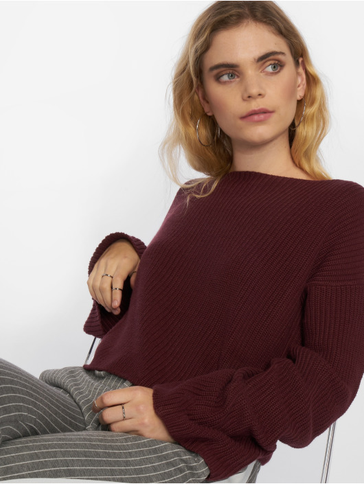 NA-KD Svetry Cropped Long Sleeve Knitted červený