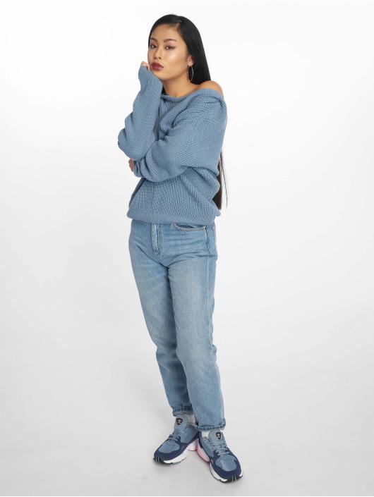 NA-KD Svetry Knitted Deep V-Neck modrý