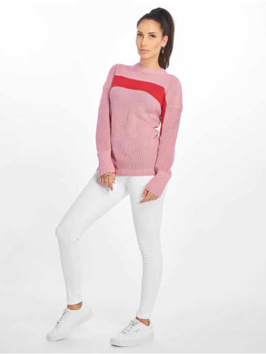 NA-KD Svetry Happy Stripe růžový