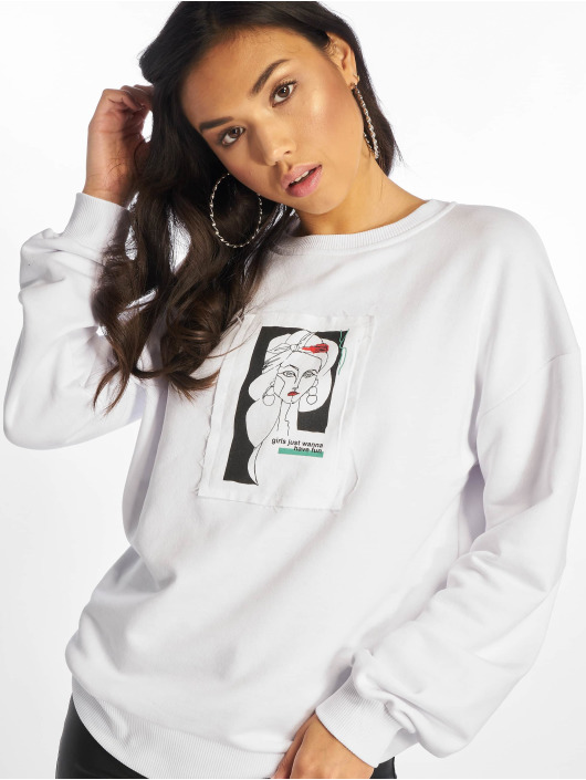 NA-KD Sweat & Pull Front Print Oversized blanc