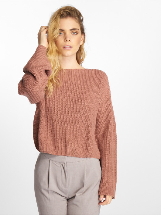 NA-KD Sweat & Pull Cropped Long Sleeve Knitted magenta