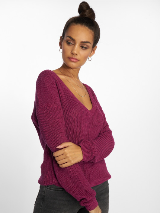 NA-KD Sweat & Pull Deep Front V-Neck Knitted magenta