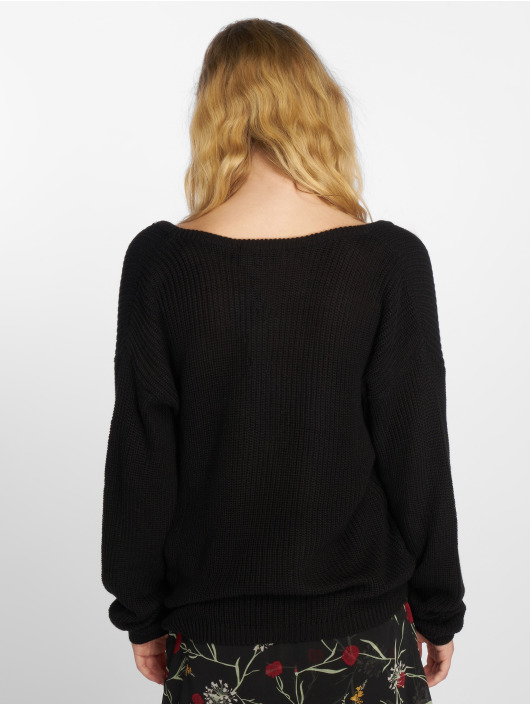 NA-KD Sweat & Pull Deep Front V-Neck Knitted noir