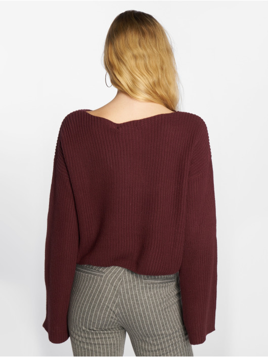 NA-KD Sweat & Pull Cropped Long Sleeve Knitted rouge
