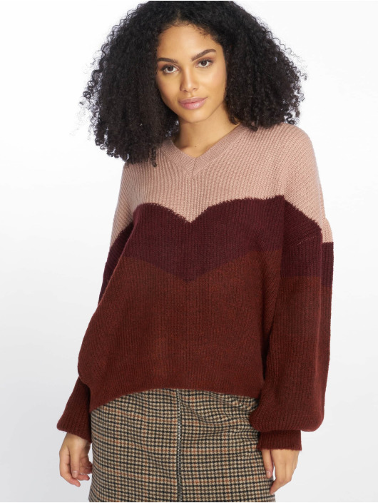 NA-KD Sweat & Pull Blocked V-Neck Knitted rouge