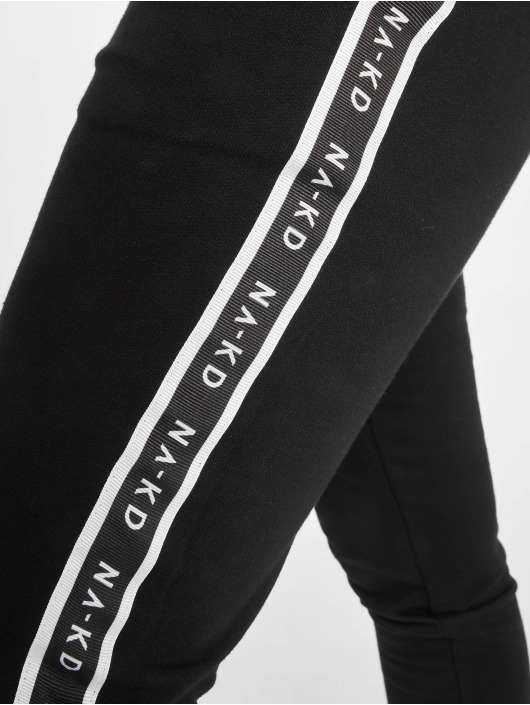NA-KD Sweat Pant Side Tape High Waist black