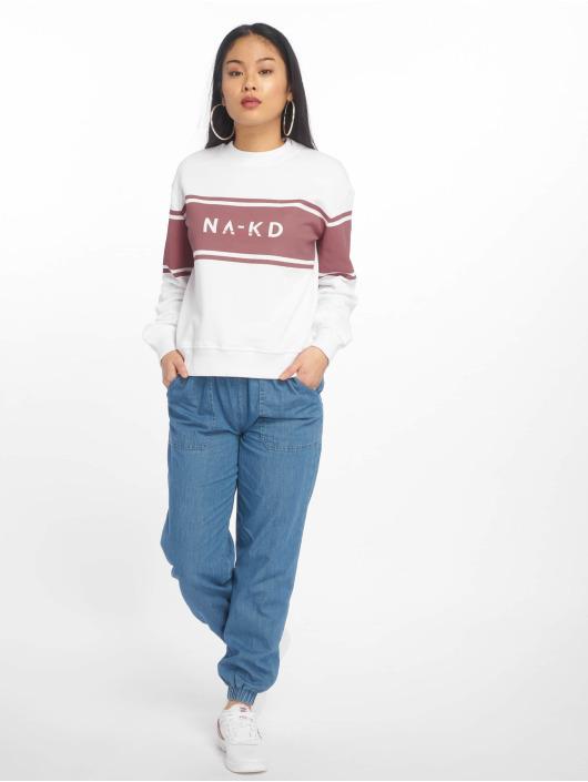 NA-KD Swetry Striped Logo bialy