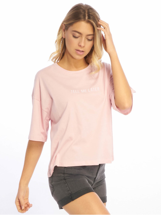 NA-KD T-Shirt Tell Me Later Oversized rosa