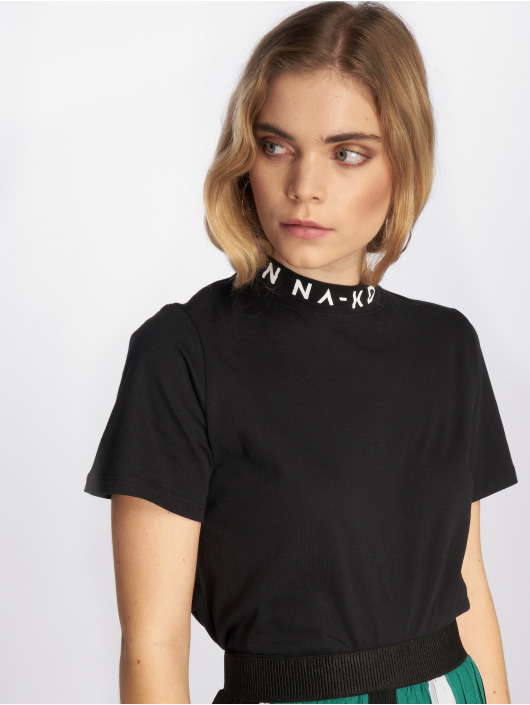 NA-KD t-shirt Polo Print zwart
