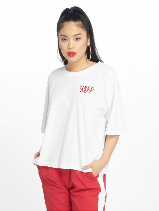 NA-KD T-Shirty Tired 24/7 Oversized bialy