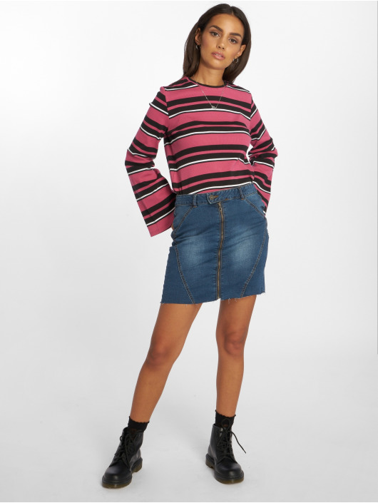 NA-KD Top Wide Sleeve Striped pink
