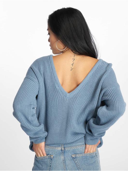 NA-KD Trøjer Knitted Deep V-Neck blå