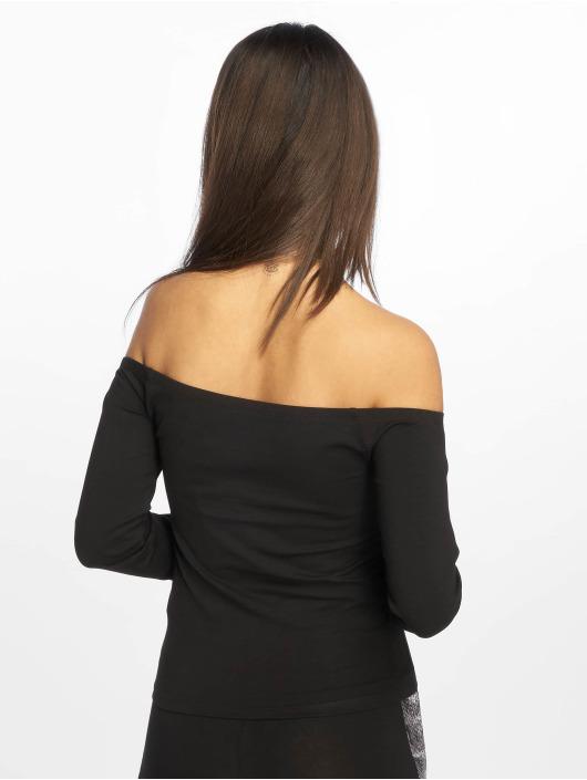 NA-KD Tričká dlhý rukáv Cropped Off Shoulder èierna