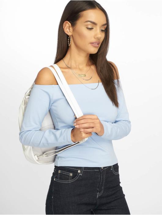 NA-KD Tričká dlhý rukáv Cropped Off Shoulder modrá