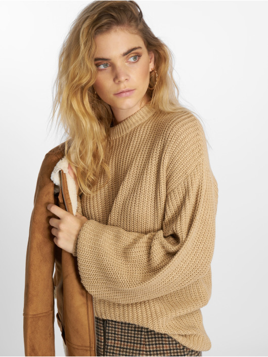 NA-KD trui Dropped Shoulder Knitted beige